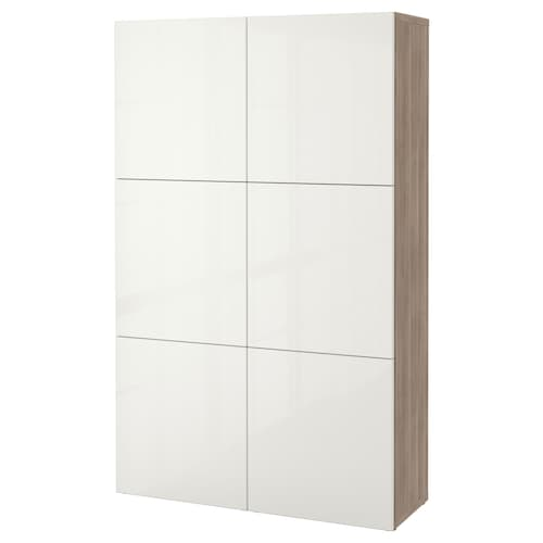 BESTÅ storage combination with doors grey stained walnut effect/Selsviken high-gloss/white 120 cm 40 cm 192 cm
