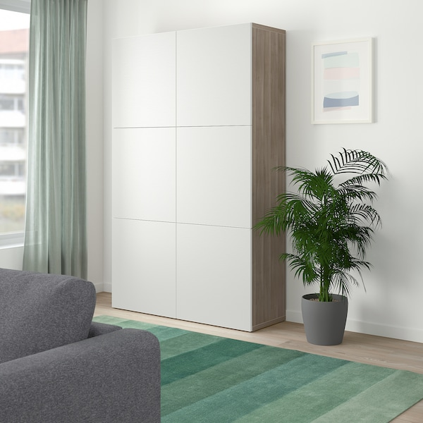 BESTÅ storage combination with doors grey stained walnut effect/Laxviken white 120 cm 40 cm 192 cm