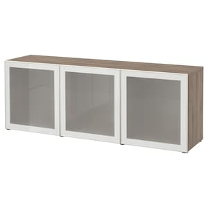Colour: Grey stained walnut effect/glassvik white frosted glass.