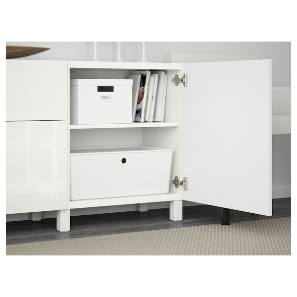 BESTÅ Storage combination with drawers, Laxviken white/Selsviken high-gloss/white, 180x40x74 cm
