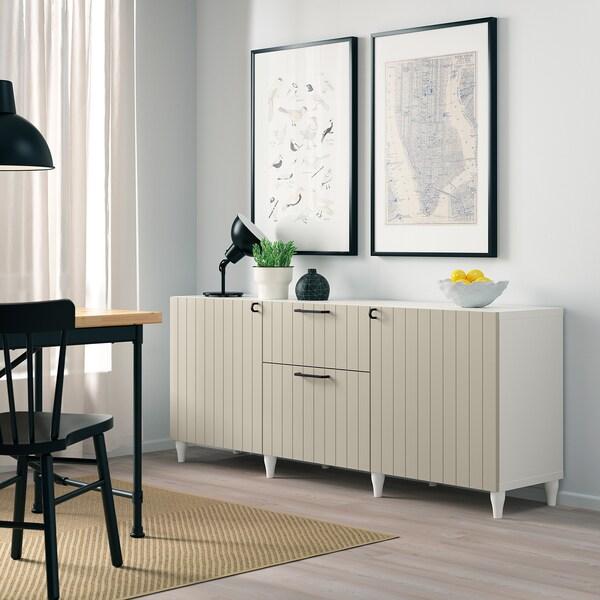 BESTÅ تشكيلة تخزين مع أدراج, أبيض/Sutterviken/Kabbarp رمادي-بيج, 180x42x74 سم