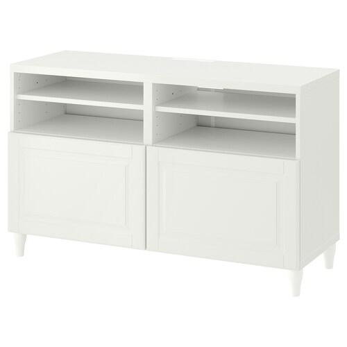BESTÅ TV bench with doors white/Smeviken/Kabbarp white 120 cm 42 cm 74 cm 50 kg
