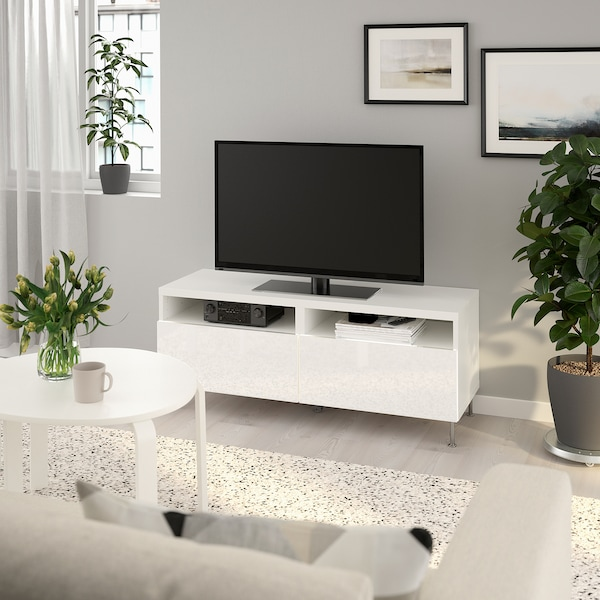 BESTÅ TV bench with drawers, white/Selsviken/Stallarp high-gloss/white, 120x42x48 cm