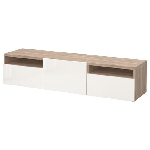 BESTÅ TV bench grey stained walnut effect/Selsviken high-gloss/white 180 cm 42 cm 39 cm 50 kg