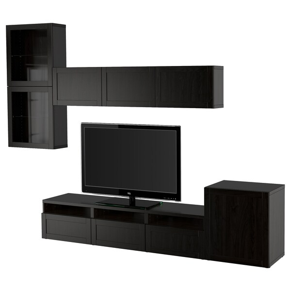 BESTÅ تشكيلة تخزين تلفزيون/أبواب زجاجية, أسود-بني/Hanviken أسود-بني زجاج شفاف, 300x42x211 سم