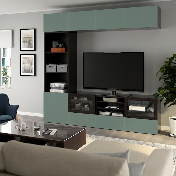 BESTÅ TV storage combination/glass doors, black-brown/Notviken grey-green clear glass, 240x42x230 cm