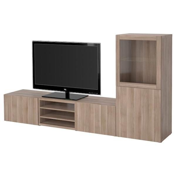 BESTÅ TV storage combination/glass doors, grey stained walnut effect/Lappviken grey stained walnut eff clear glass, 240x42x129 cm