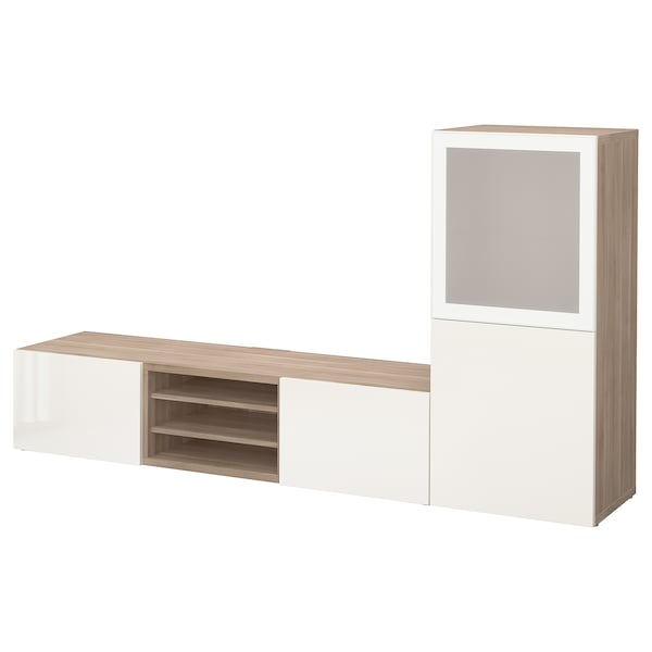 BESTÅ TV storage combination/glass doors, grey stained walnut effect/Selsviken high-gloss/white frosted glass, 240x42x129 cm