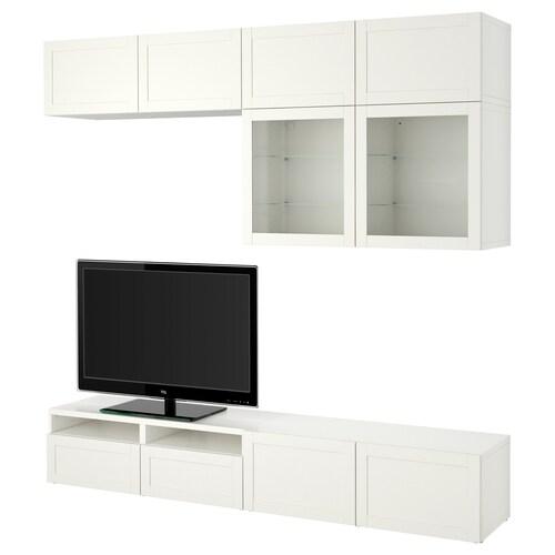 BESTÅ TV storage combination/glass doors Hanviken/Sindvik white clear glass 240 cm 40 cm 230 cm