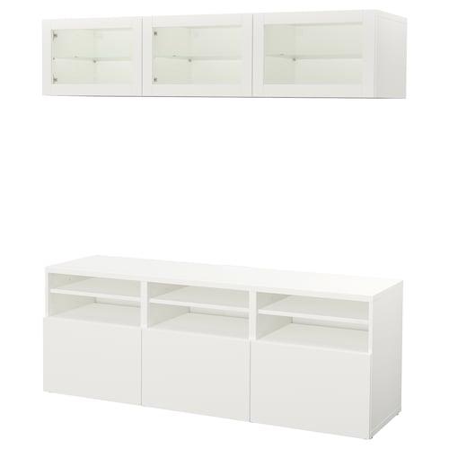 BESTÅ TV storage combination/glass doors Lappviken/Sindvik white clear glass 180 cm 40 cm 192 cm
