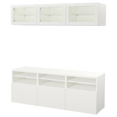 BESTÅ TV storage combination/glass doors, Lappviken/Sindvik white clear glass, 180x40x192 cm