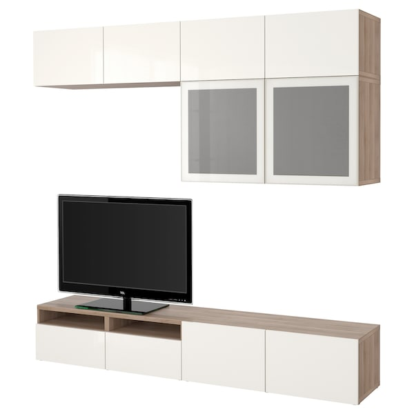 BESTÅ TV storage combination/glass doors grey stained walnut effect/Selsviken high-gloss/white frosted glass 240 cm 40 cm 230 cm