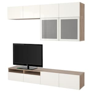 Colour: Grey stained walnut effect/selsviken high-gloss/white frosted glass.