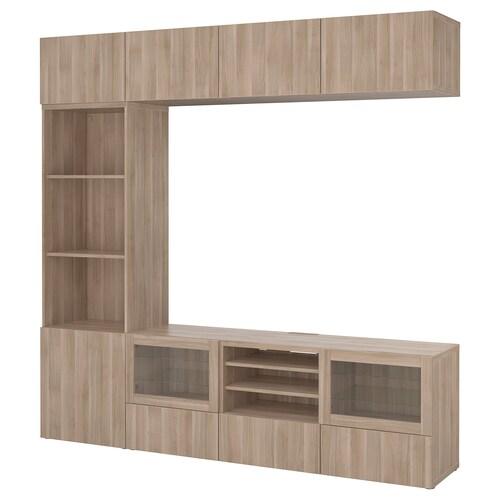 BESTÅ TV storage combination/glass doors Lappviken/Sindvik grey stained walnut eff clear glass 240 cm 40 cm 230 cm