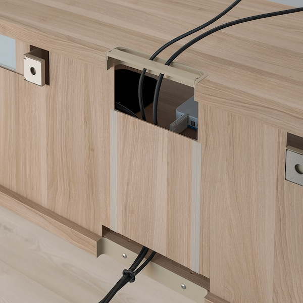 BESTÅ TV storage combination/glass doors grey stained walnut effect/Lappviken grey stained walnut eff clear glass 300 cm 211 cm 42 cm