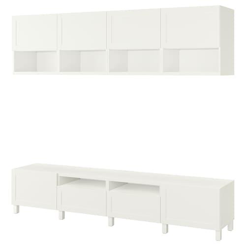 BESTÅ TV storage combination white/Hanviken/Stubbarp white 240 cm 42 cm 230 cm