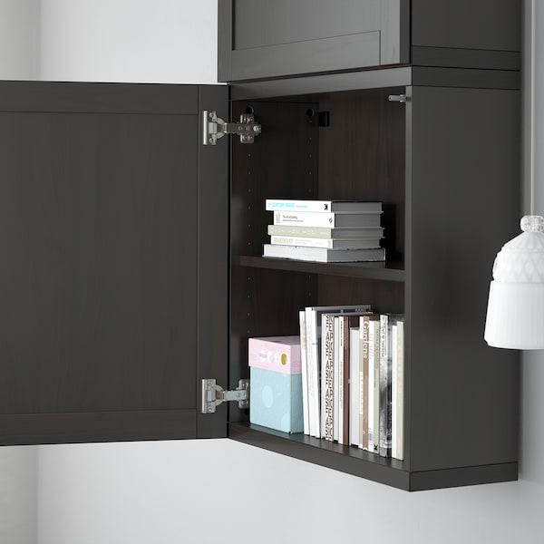 BESTÅ خزانة حائط مع بابين, أسود-بني/Hanviken أسود-بني, 60x22x128 سم