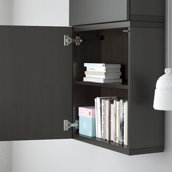 BESTÅ خزانة حائط مع بابين, Lappviken أسود-بني, 60x22x128 سم