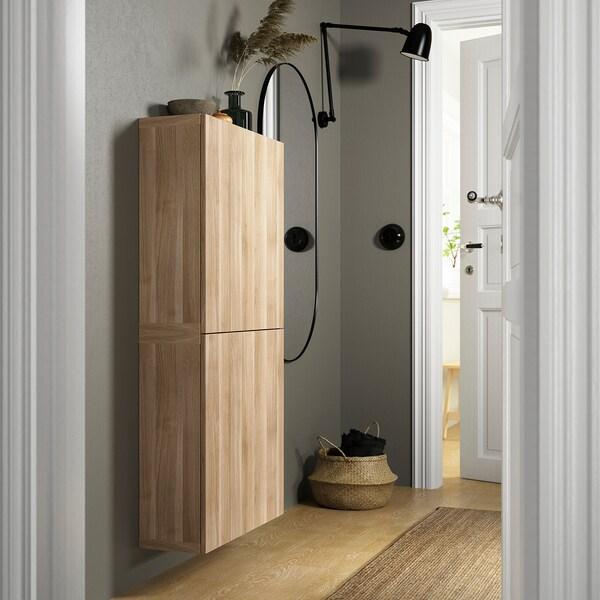 BESTÅ خزانة حائط مع بابين, Lappviken مظهر الجوز مصبوغ رمادي, 60x22x128 سم