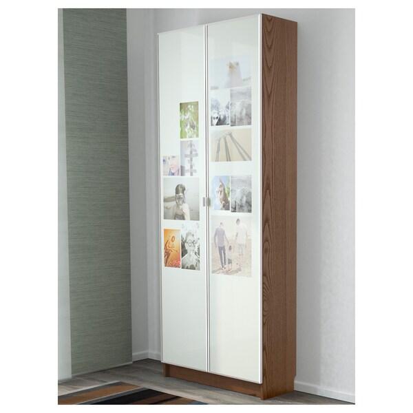 BILLY / MORLIDEN Bookcase, brown ash veneer, 80x30x202 cm