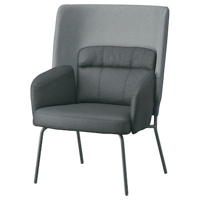 BINGSTA High-back armchair, Vissle dark grey/Kabusa dark grey