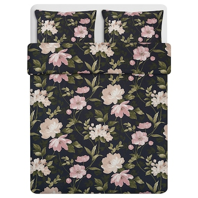 BLEKFRYLE Quilt cover and 2 pillowcases, black/flower, 240x220/50x80 cm