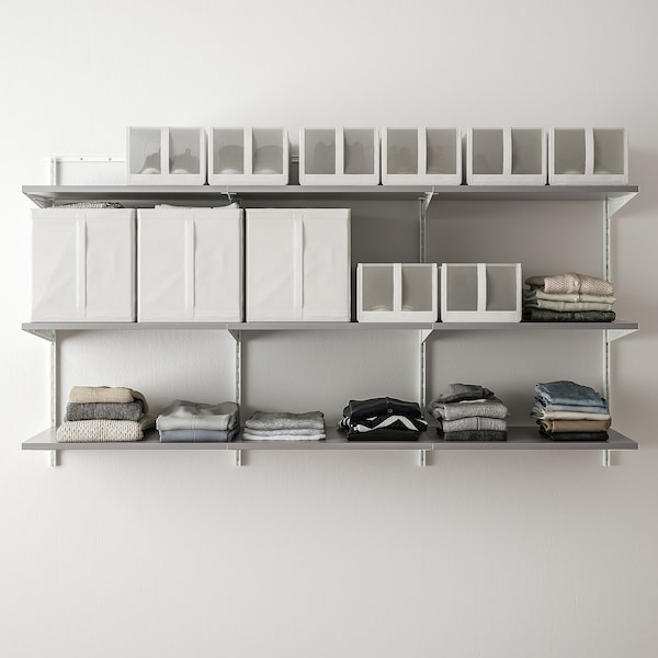 BOAXEL 3 sections, white/grey, 187x40x101 cm