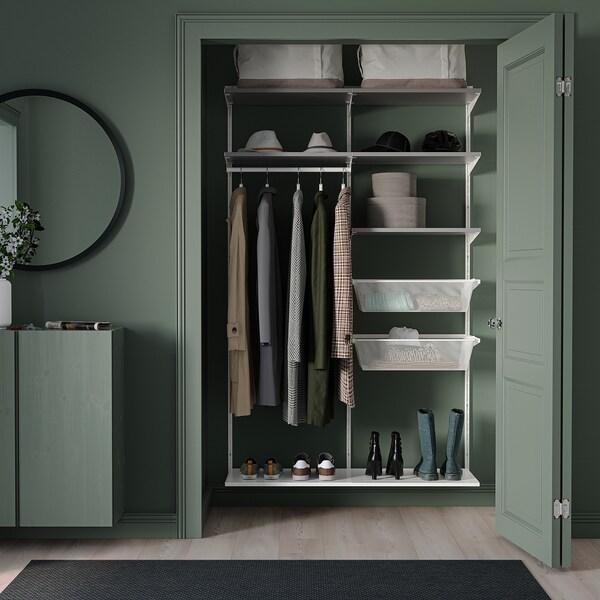 BOAXEL تشكيلة خزانة ملابس., أبيض/رمادي, 125x40x201 سم