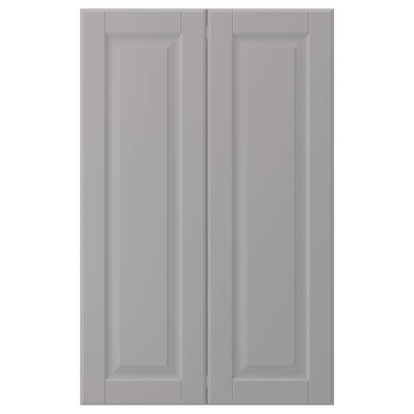 BODBYN طقم باب خزانة قاعدة زاوية 2 قطعة, رمادي, 25x80 سم