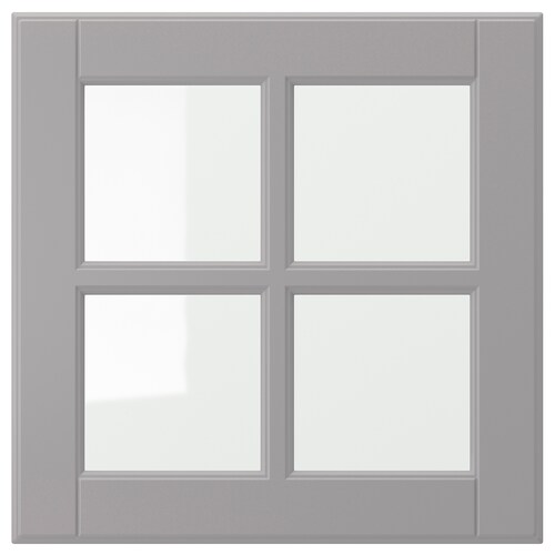 BODBYN glass door grey 39.7 cm 40 cm 40 cm 39.7 cm 1.9 cm
