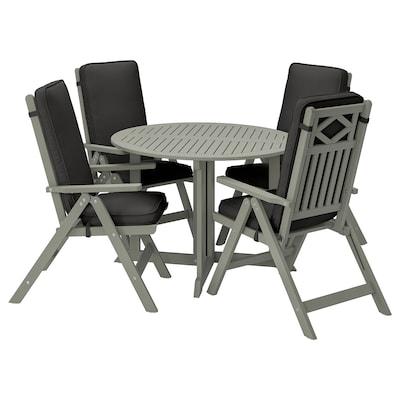 BONDHOLMEN طاولة+4 كراسي استلقاء، خارجية, صباغ رمادي/Järpön/Duvholmen فحمي