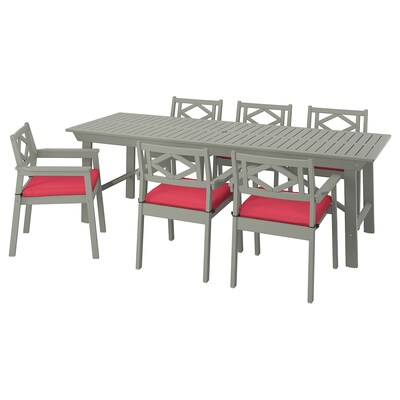 BONDHOLMEN Table+6 chairs w armrests, outdoor, grey stained/Frösön/Duvholmen red