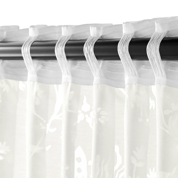 BORGHILD Sheer curtains, 1 pair, white, 145x300 cm
