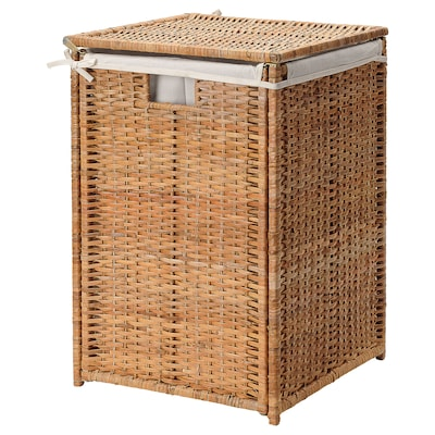 BRANÄS Laundry basket with lining, rattan, 80 l