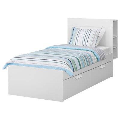 BRIMNES Bed frame w storage and headboard, white/Luröy, 90x200 cm
