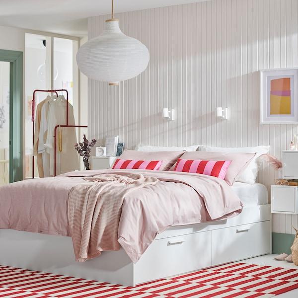 BRIMNES Bed frame with storage, white/Luröy, 140x200 cm