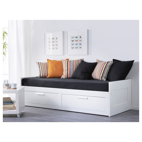 BRIMNES Day-bed w 2 drawers/2 mattresses, white/Malfors medium firm, 80x200 cm