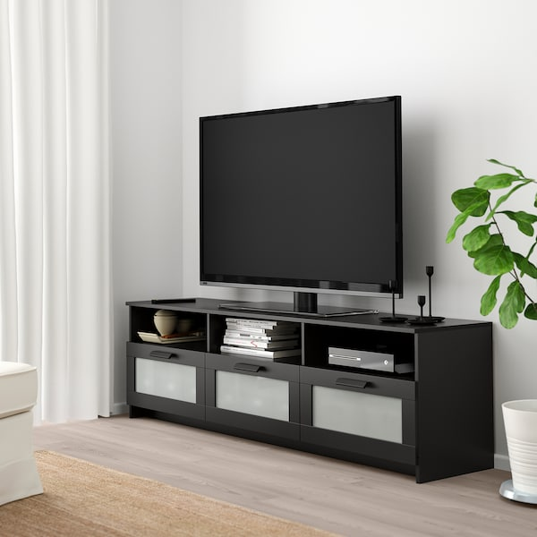 BRIMNES طاولة تلفزيون, أسود, 180x41x53 سم