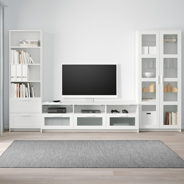 BRIMNES TV storage combination/glass doors white 320 cm 41 cm 190 cm
