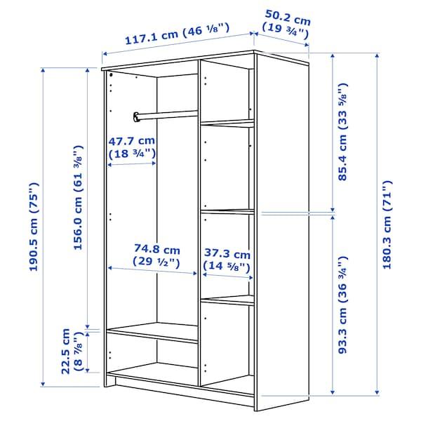 BRIMNES خزانة ملابس مع 3 أبواب, أبيض, 117x190 سم