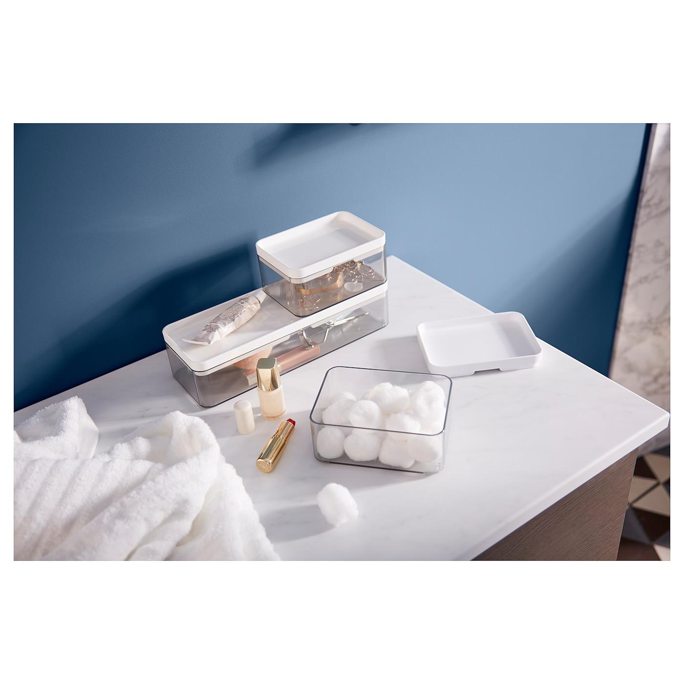 BROGRUND صندوق، طقم من 3, رمادي شفاف/أبيض