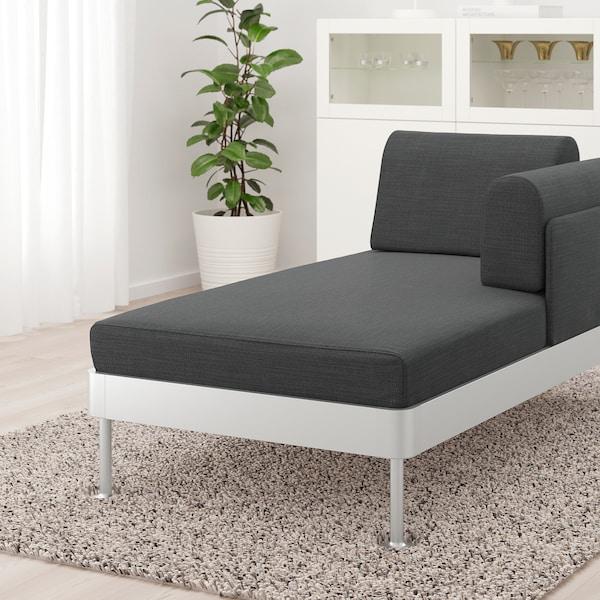 DELAKTIG Chaise longue with armrest, Hillared anthracite
