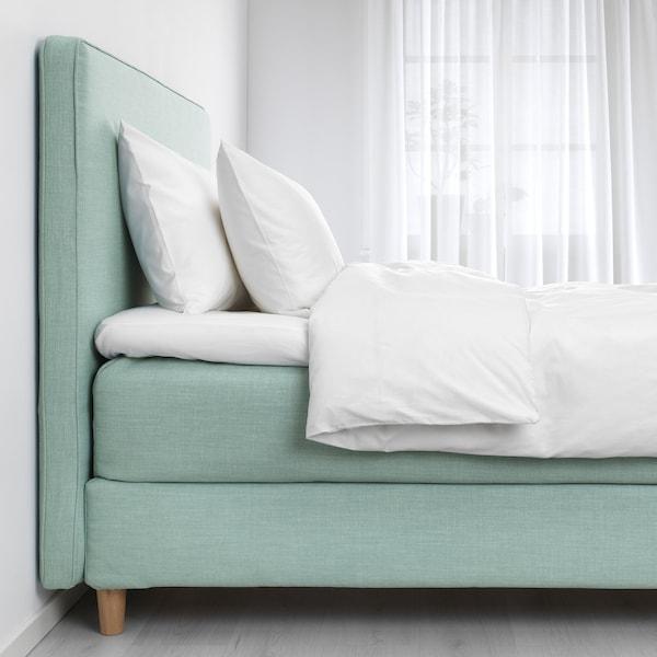 DUNVIK divan bed Hyllestad medium firm/Tussöy light turquoise 210 cm 180 cm 120 cm 200 cm 180 cm