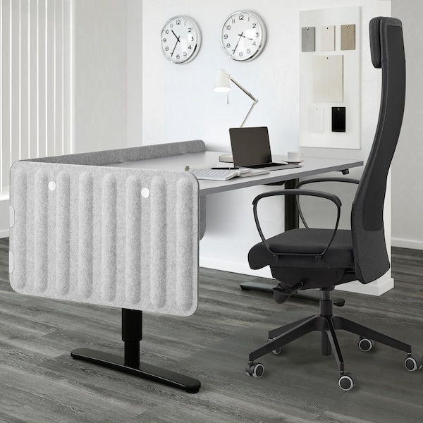 EILIF Screen for desk, grey, 80x48 cm