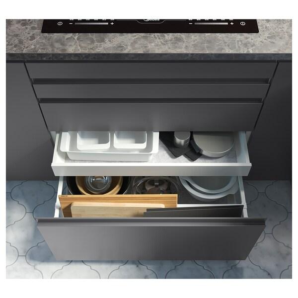 EKBACKEN Worktop, dark grey marble effect/laminate, 246x2.8 cm