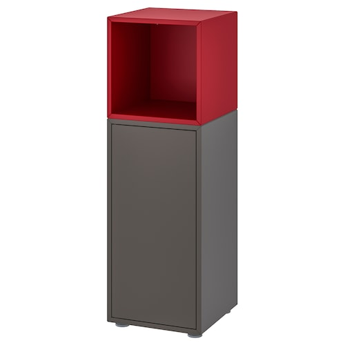 EKET cabinet combination with feet dark grey/red 35 cm 35 cm 107 cm