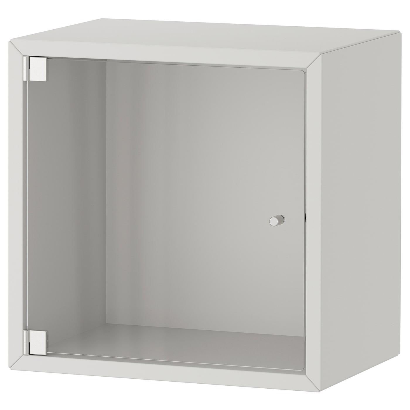 EKET Wall cabinet with glass door - light grey - IKEA