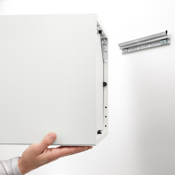 EKET خزانة حائط افقية مع باب زجاجي, مظهر سنديان مصبوغ أبيض, 35x25x35 سم
