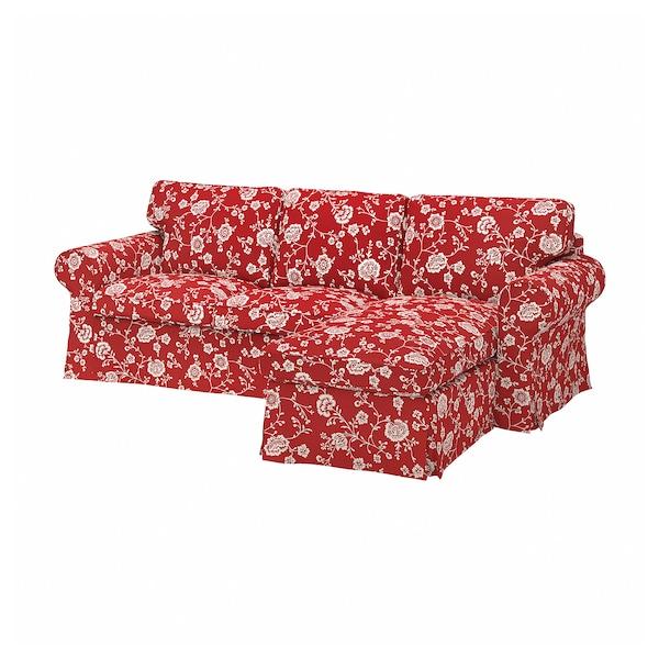 EKTORP غطاء أريكة ثلاث مقاعد, مع أريكة طويلة/Virestad أحمر/أبيض