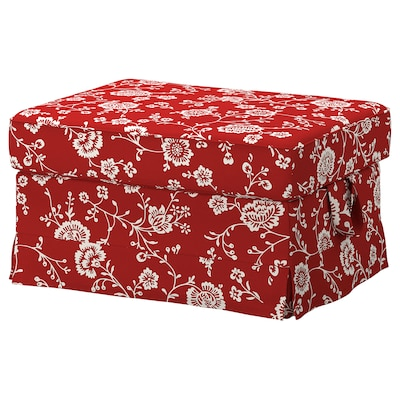 EKTORP Footstool, Virestad red/white